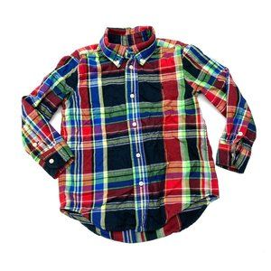 Ralph Lauren Rainbow Plaid Button Up Shirt Sz 4 4T